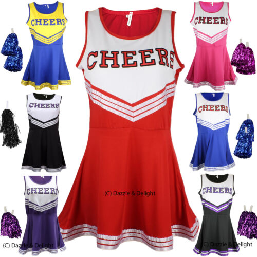 CHEERLEADER FANCY DRESS OUTFIT UNIFORM HIGH SCHOOL CHEER COSTUME WITH POM POMS <br/> UK Seller Fast Dispatch - Pom Poms Included ALL SIZES