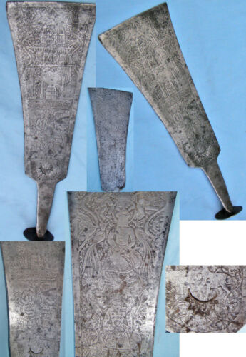 ORIENTALIST RARE AFSHAR DYNASTY AX SILVERED IRON SIGNED BY:MOHAMAD,CROWN DESIGN
