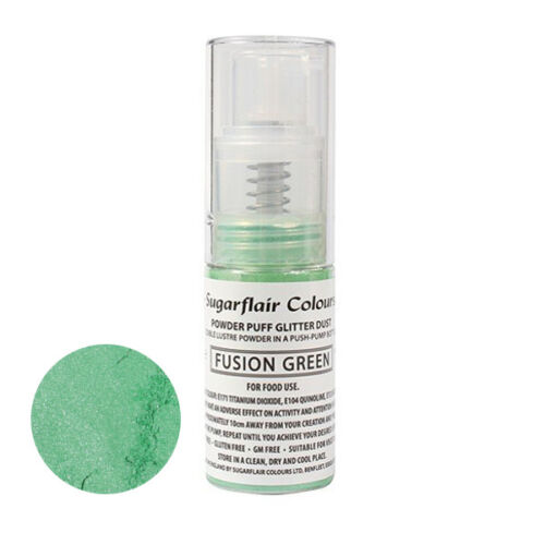 Sugarflair Powder Puff Edible Glitter Spray bez aerozolu 10g - FUSIE GROEN
