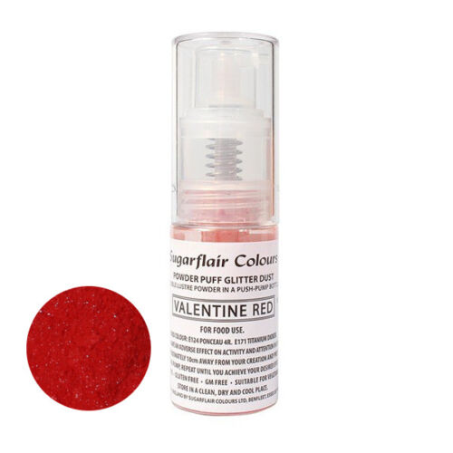 Sugarflair Powder Puff Edible Glitter Spray bez aerozolu 10g - VALENTIJN ROOD