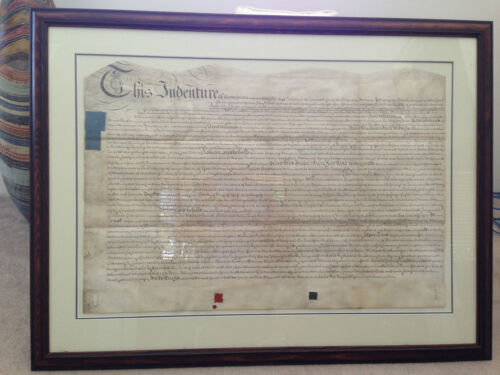 ANTIQUE framed GEORGE III INDENTURE circa 1780s on vellum ( 57x85cm)