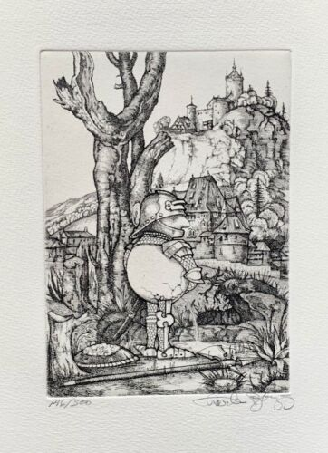 Charles Bragg PISSING Hand Signed Limited Edition Art Etching CAMELOT SERIES