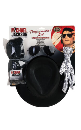 Official MICHAEL JACKSON Wig Glove Hat Glasses Accessory Kit One Size Age 14+