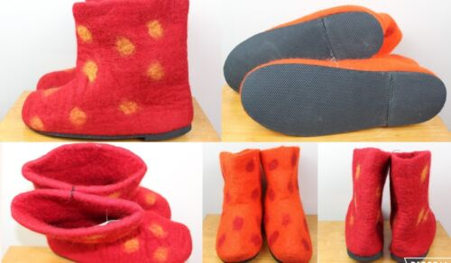 REAL WOOL HANDMADE Boots Hippy Felt Indoor Winter Shoes Warm Mule Slipper Nepal