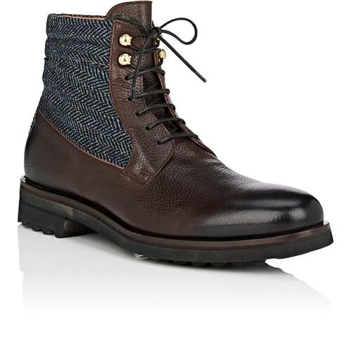 NIB DOUCAL'S Herringbone Leather Lace-Up Boots (Handmade in Italy) RRP $650