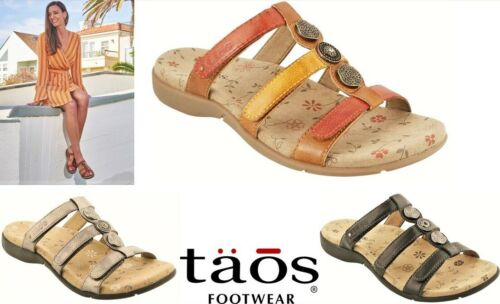 Taos Comfort slip on adjustable sandals leather Taos Shoes Prize 3 in 4 colours