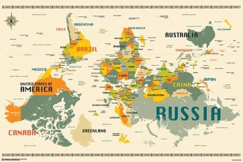 WORLD MAP - UPSIDE DOWN STYLE POSTER 24x36 - 11350