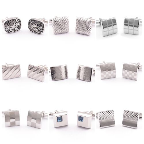 Silver Steel rectangular Wedding Crystal Business Shirt Novelty men's cufflinks <br/> ✔Brand New ✔High Quality ✔Fast Delivery ✔Au Stock