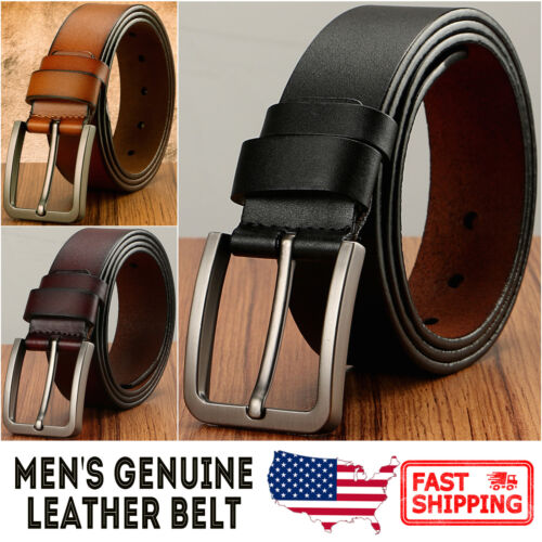 Men's Classic Metal Buckle Handcrafted Genuine Leather Needlepoint Jean Belt