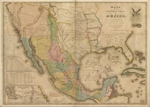 """18"""" x 24"""" 1847 Map Of The United States Of Mexico"""