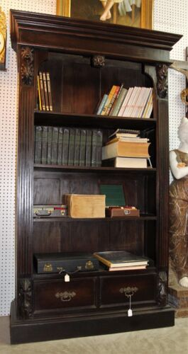 Antique Style Country French Solid Wood Bookcase 3 shelf 2 drawers Brass Handles