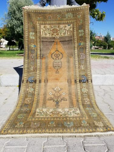 "Stunning antique 1930-1940's Wool Pile, Muted Dye 3'3"" x 6'3"" Oushak Rug"