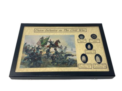 Civil War Union Infantry Display Case with Bullets, Button, Grommet, Post Card  Bullets - 103996