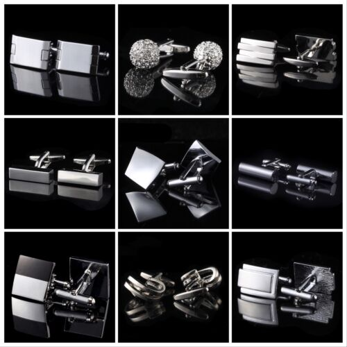 Silver black rectangular Wedding Crystal Business Shirt Novelty men's cufflinks <br/> ✔Brand New ✔High Quality ✔Fast Delivery ✔Au Stock