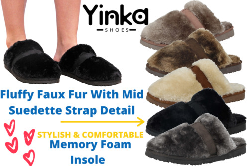 Ladies Girls Faux Fur Suede Warm Slip On Mule Winter Slippers Shoes Size UK