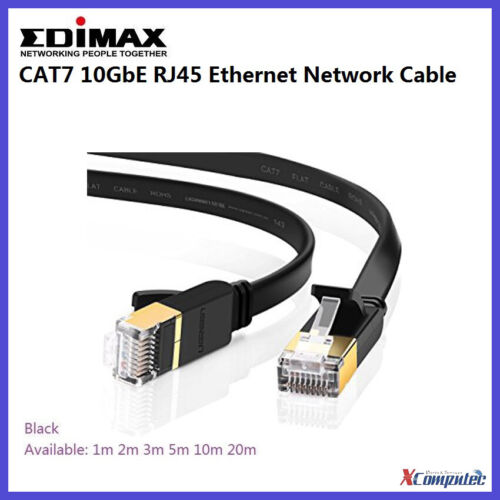 Edimax CAT7 RJ45 Ethernet Network Cable 10GB Shielded Flat LAN Patch 1-20m Black