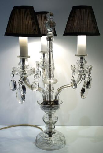Vintage large glass crystal banquet candelabra style table lamp chandelier 1960s