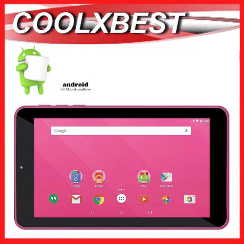 """7"""" PINK ANDROID 6.0 TABLET PC QUAD CORE 16GB BLUETOOTH & WiFi KIDS STUDENT"""
