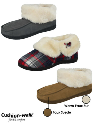 Ladies Cushion Walk Faux Suede Sheepskin Fur Lined Moccasin Boots Bootie Slipper