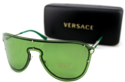 8c442bf8c8 NEW Genuine VERSACE MEDUSA MADNESS Silver Green Shield Sunglasses VE 2180  1000 2