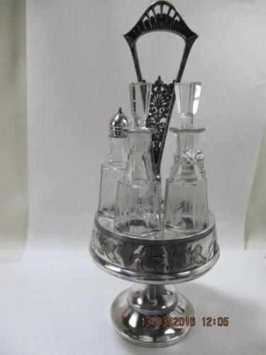 Vintage Silverplate and Crystal Victorian Condiment Set Etched & Cut Crystal