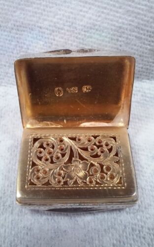 Antique Georgian English Silver Vinaigrette - Thomas Shaw - 1833