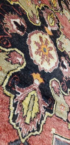 "Beautiful Vintage 1950-1960s Natural Dye 4'6""×9'8"" Wool Pile Tribal Rug"