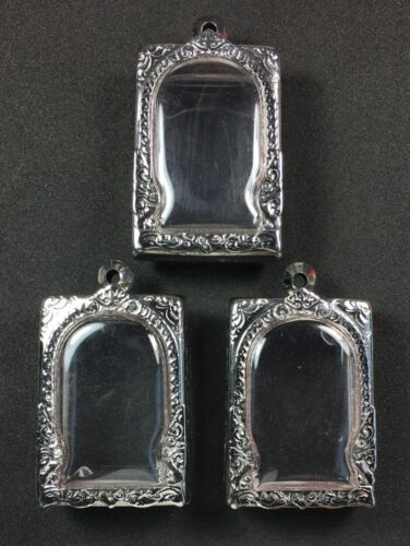 BEAUTIFUL 3 PCS STAINLESS STEEL CASE FOR PHRA SOMDEJ THAI BUDDHA AMULET PENDANT