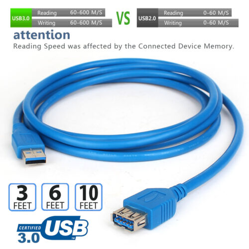 Male to Female 3.0 USB Data Cable Extension Cord for Laptop PC Camera Cable Hot