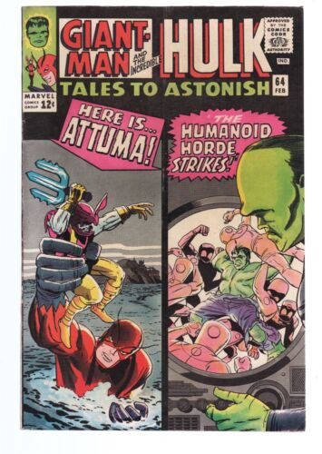 TALES TO ASTONISH GIANT MAN & THE WASP / HULK  FN+ 6.5  SILVER AGE MARVEL COMICS