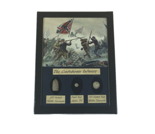 The Confederate Infantry Civil War Bullet Set with Glass Top Display CaseBullets - 103996