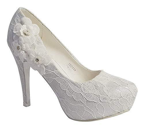 WOMENS IVORY PETAL DETAIL LACE HIGH HEEL FULL TOE BRIDAL WEDDING SHOES SIZES 3-8