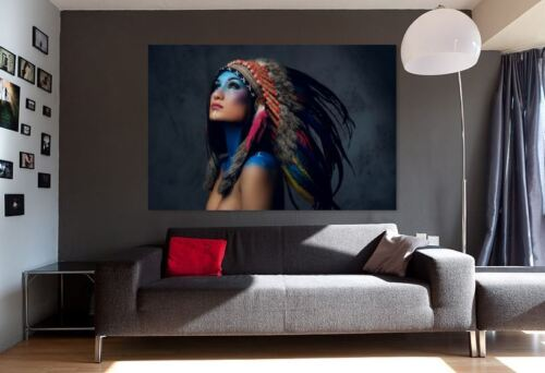 Red Indian Native American Warriors quality Canvas painting  Home decor