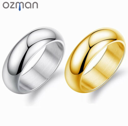 Mens Classic Style Wedding Smooth Polished Silver Gold Titanium Steel Ring <br/> ✔Brand New ✔High Quality ✔Fast Delivery ✔Au Stock