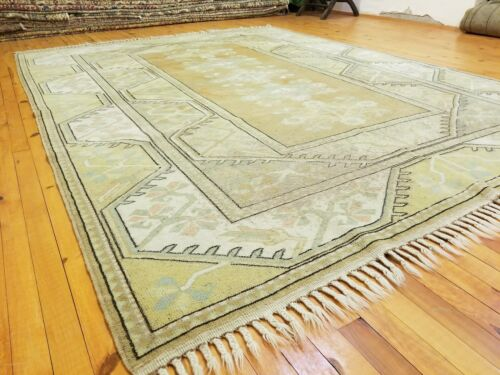 Exquisite 1950-1960's Vintage Muted Dye Wool Pile Oushak Area Rug 6'8''x8'7''