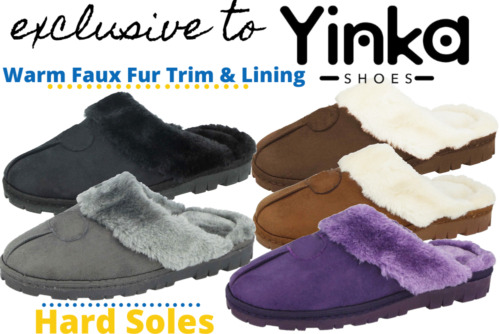 Ladies Yinka Shoe Faux Suede Fur Lined Comfort Memory Foam Slip On Mule Slipper