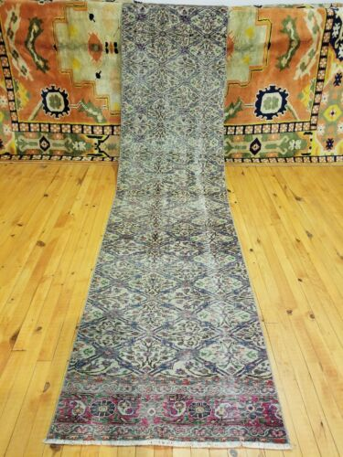 """Primitive Antique 1930-1940s Wool Pile 2'3""""×9'8"""" Muted Dye Runner Rug"""