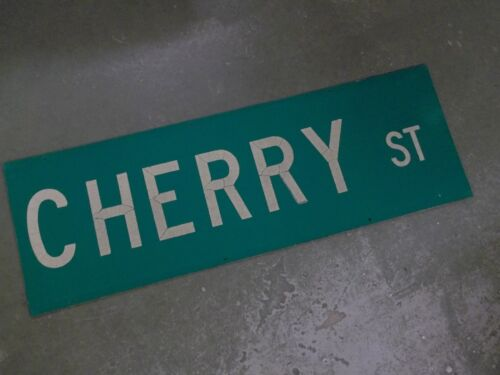 "UNUSUAL 2 SIDED CHERRY ST Street Sign 36"" X 12"" White on Green"