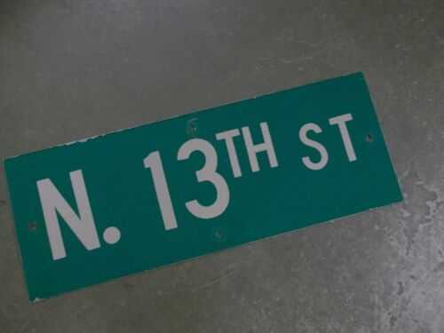 "Vintage ORIGINAL N. 13TH ST Street Sign 24' X 9"" White on Green"