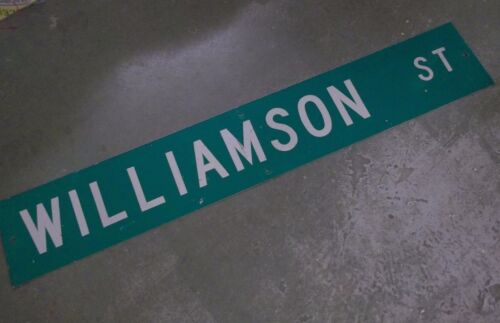 "LARGE Original~ WILLIAMSON ST Street Sign 54"" X 9"" White Lettering on Green"