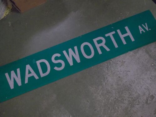 "LARGE Original WADSWORTH AV Double-Sided Street Sign 60"" X 12"" White on Green"