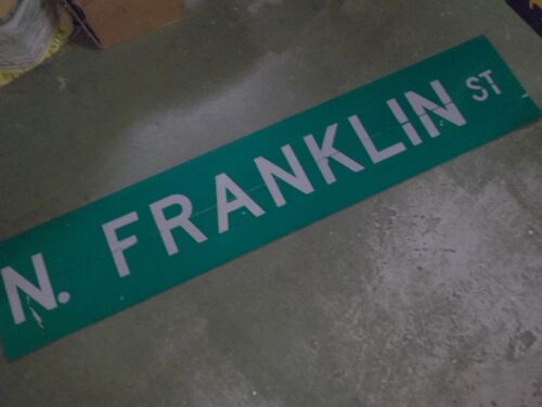 "LARGE Original N FRANKLIN ST Double-Sided Street Sign 60"" X 12"" White on Green"