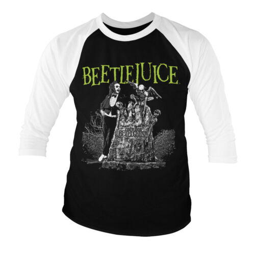 Officially Licensed Beetlejuice Headstone Baseball 3/4 Sleeve T-Shirt