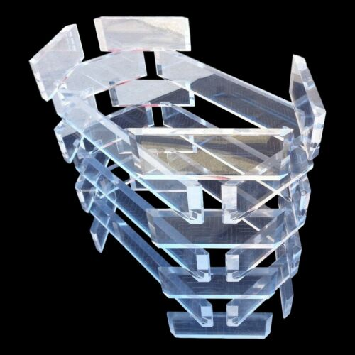 Vintage Stacked Lucite Dining Table or Desk Base Sculptural Architectural Block