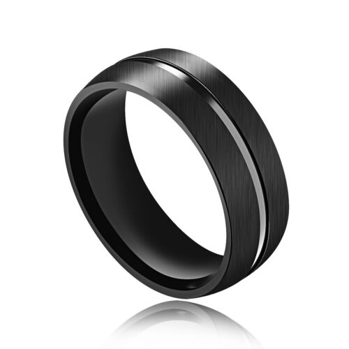 Men fashion black Dull Polish surface with smooth midline Titanium Steel Ring