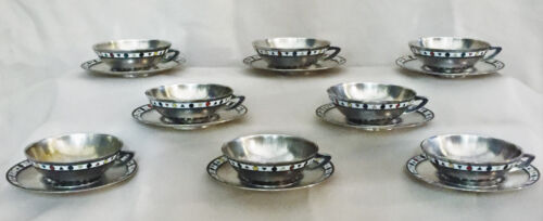Mid-Century Modern Silver 916° & Enamel Set of 8 Coffee Cups & Saucers, 1960s