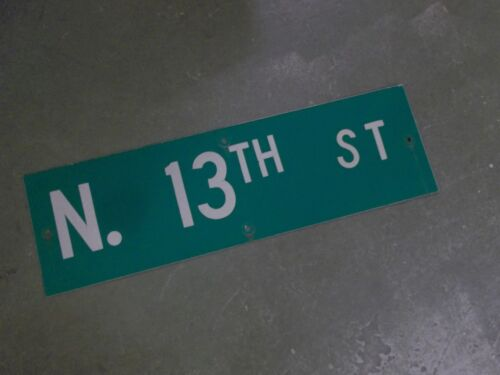 "Vintage Original N. 13TH ST  Street Sign 30"" X 9"" ~ White on Green"