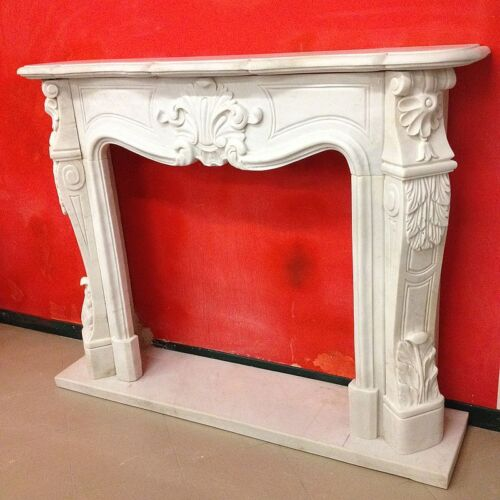 CORNICE CAMINO IN MARMO SCOLP.BIANCO 11 CM135-150 Classic Stone Marble Fireplace