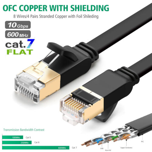 Cat 7 ethernet Cable Outdoor Networking Patch Gold RJ45 Gaming MAC Desk ADSL LOT