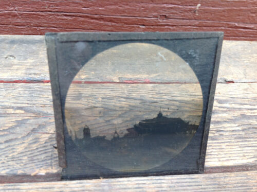 """Antique Glass Slide Negative """"Excursion Steamers From This Pier Tolls Free"""""""